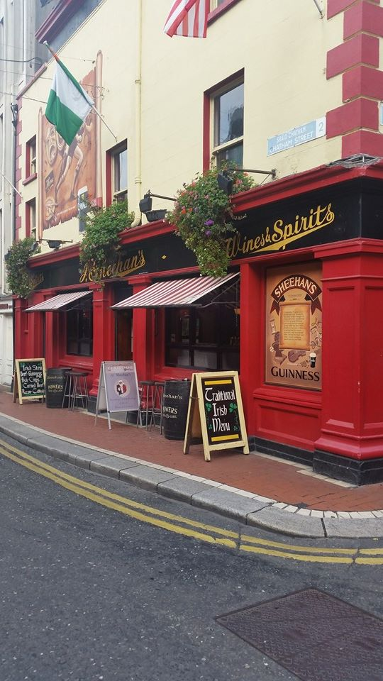 Pub with red walls and black trim