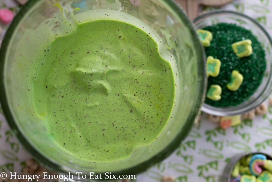 Green milkshake mix in a blender