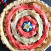 Apple pie with a blue, white, and red top crust.
