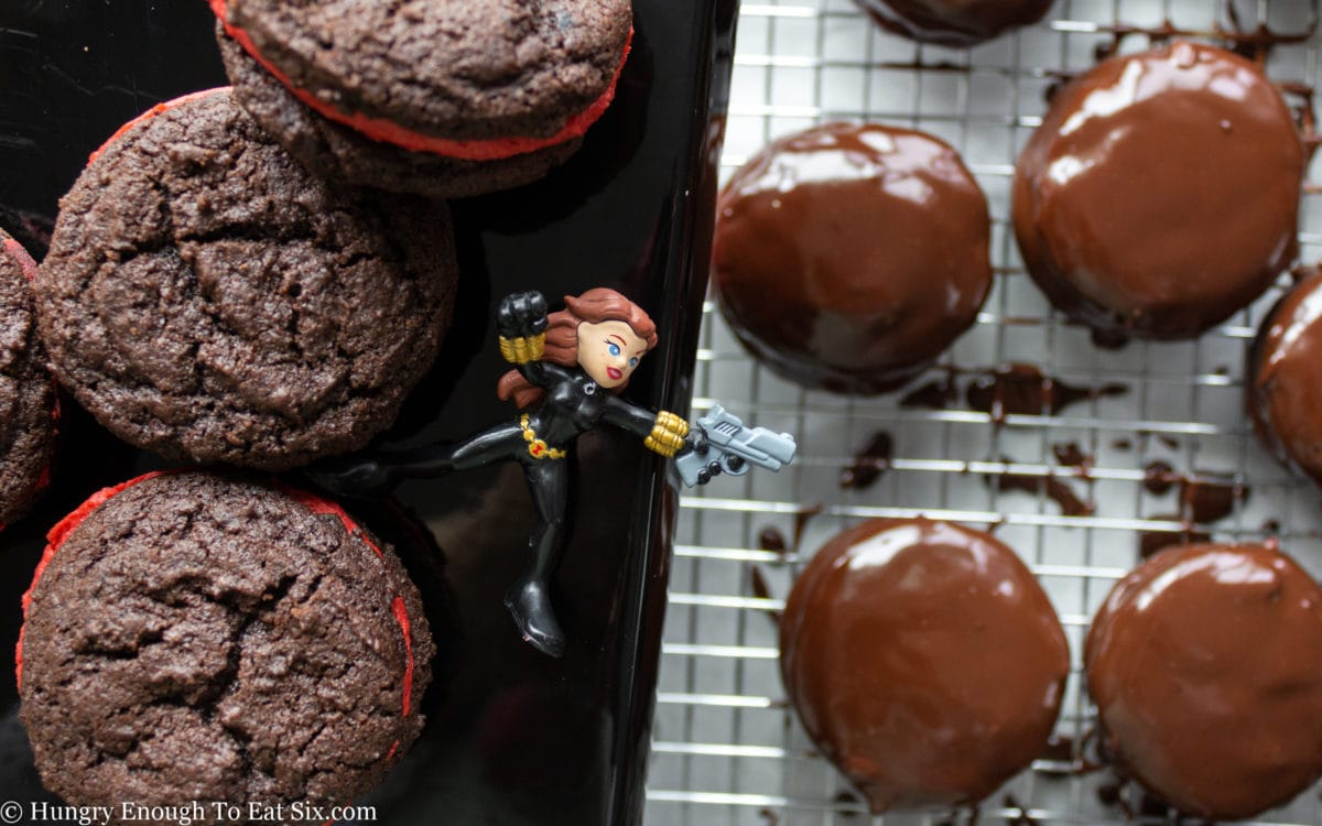 Chocolate cookies and an action figure