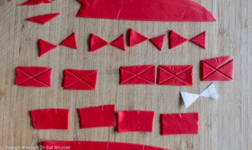 Red fondant cut in geometric shapes