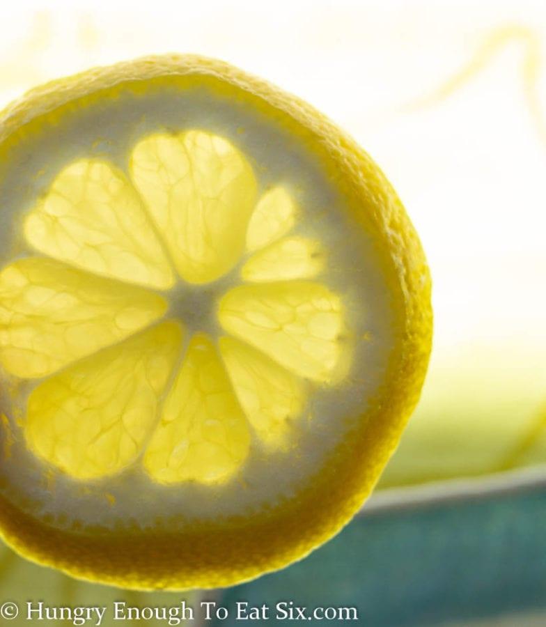 Lemon slice held up to the light