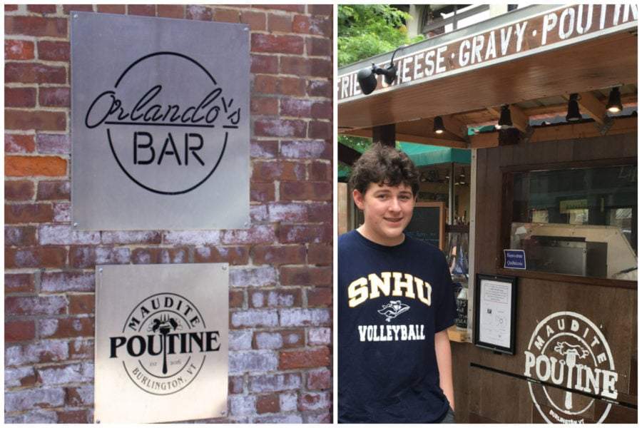 Split image of Maudite Poutine silver sign on brick wall, teen standing next to food cart.