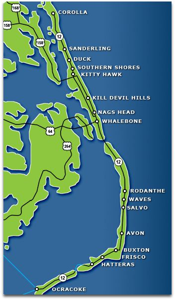 Blue and green map of Outer Banks islands, NC