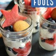 Fools made with cream, watermelon, blueberries and wafer cookies.