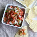 Pico de Gallo fresh salsa in a white dish.