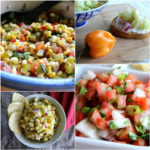 Four salsa varieties in a collage.