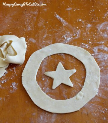 Ring and star cut from pastry dough