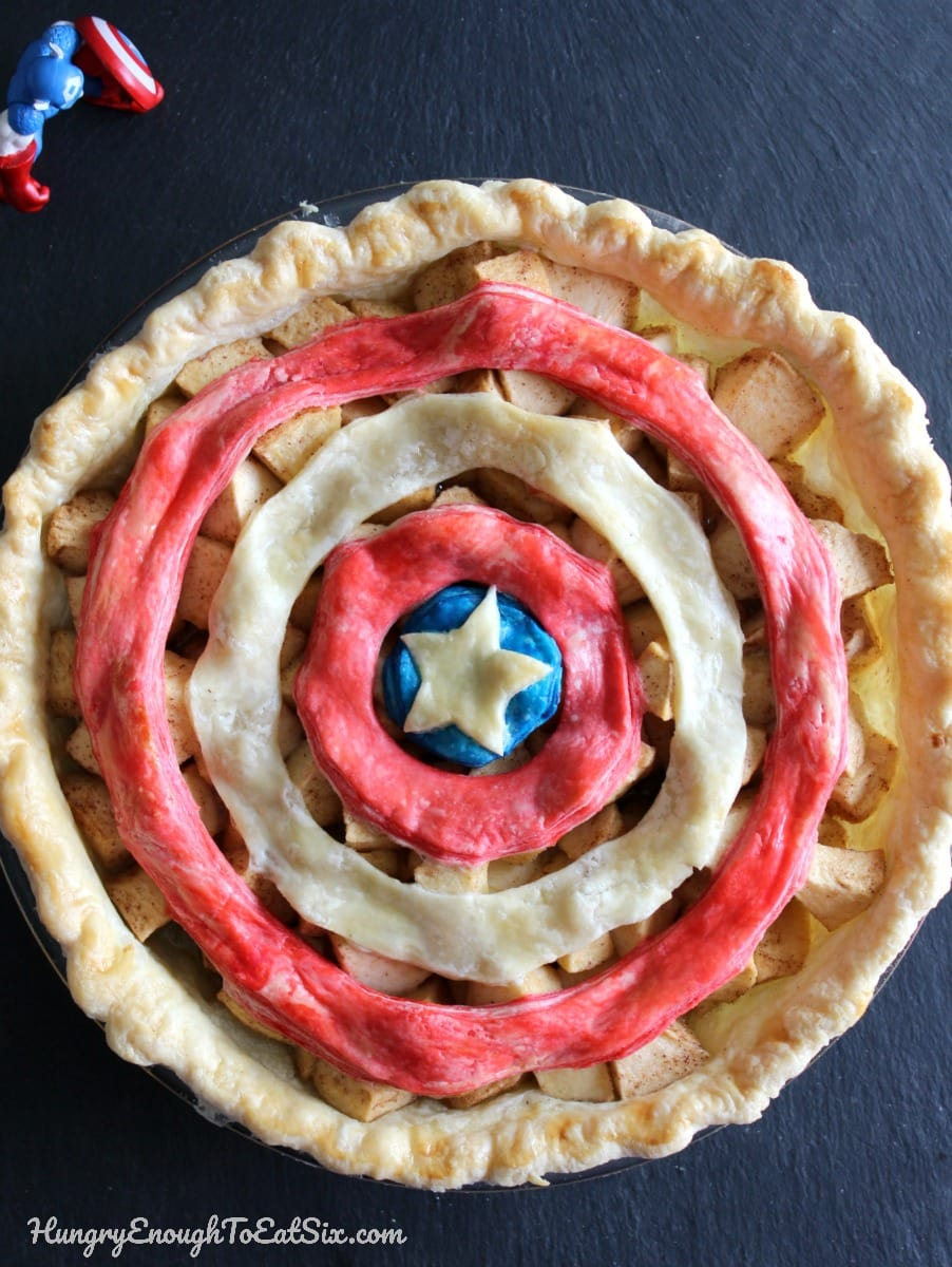 Red white and blue circles on an apple pie