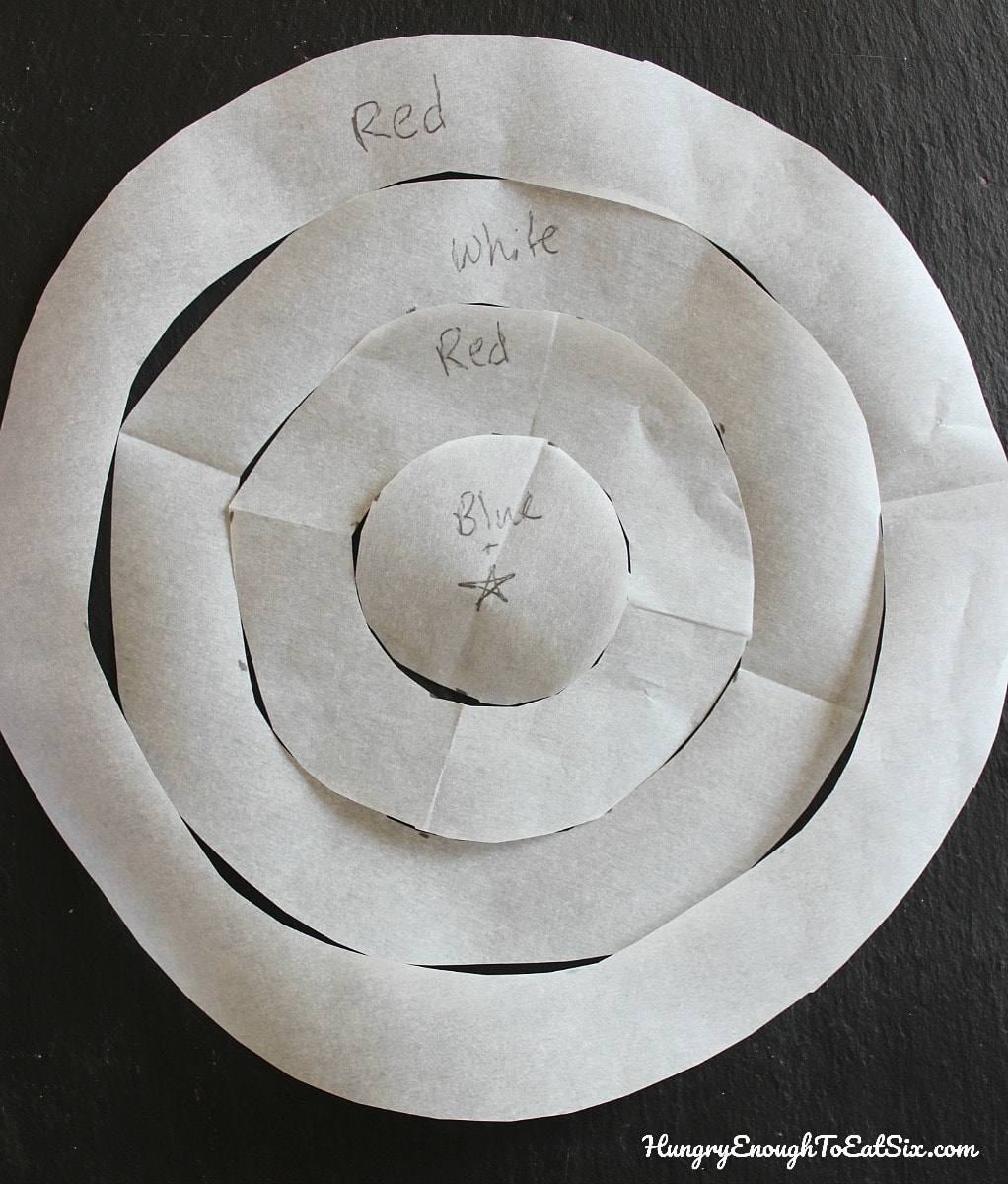 Concentric circle cutouts arranged inside one another