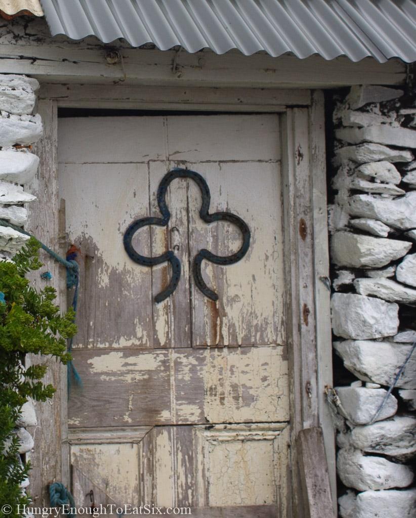 Shamrock shape on a wood door