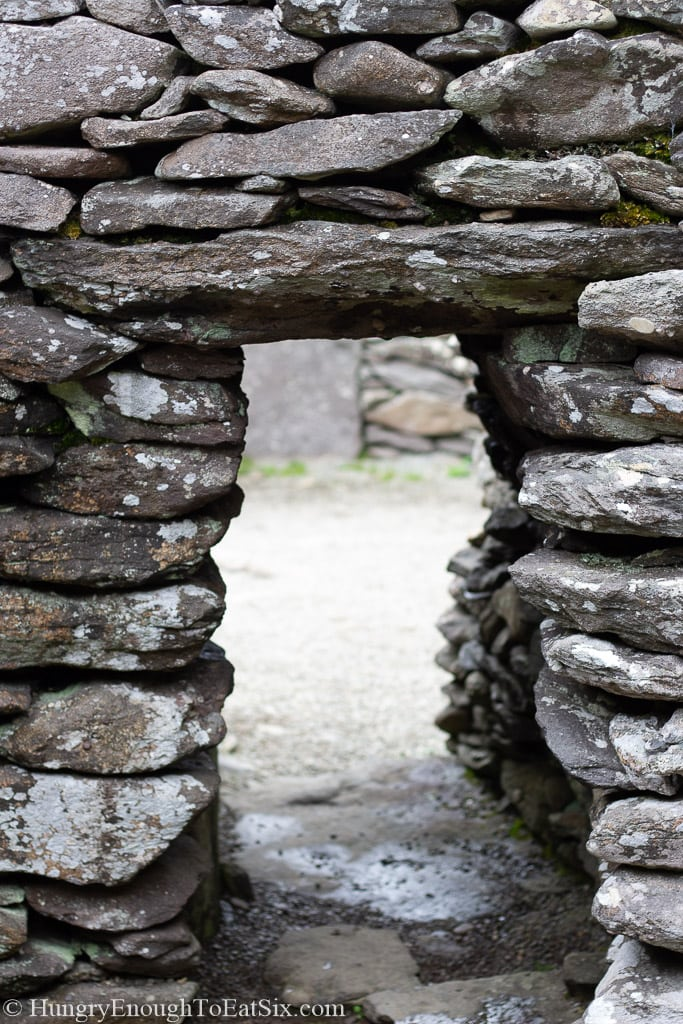 Rectangular opening in stone wall