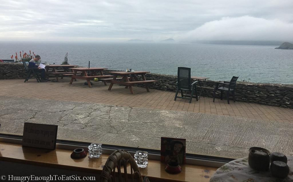 Stone patio by the ocean edge