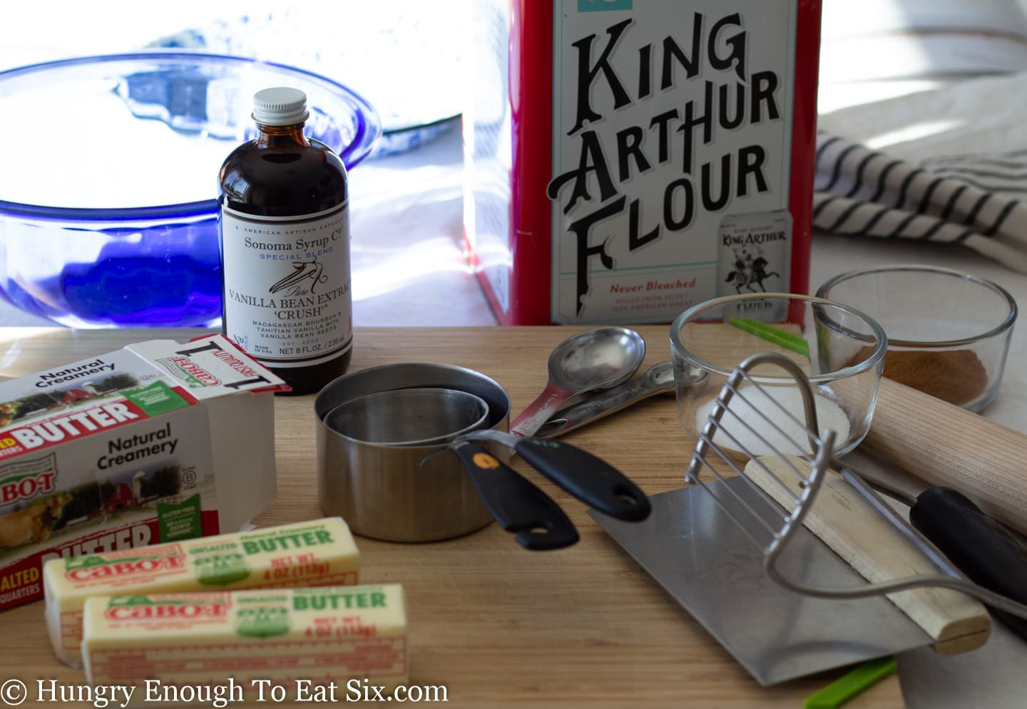 Ingredients and equipment to make pie crust dough