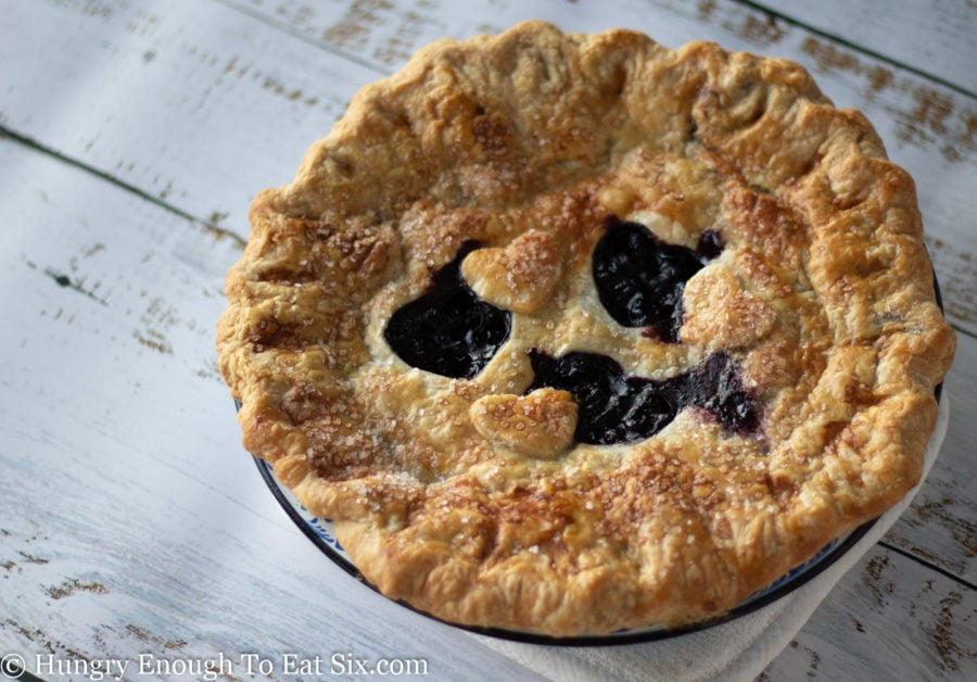 Baked blueberry pie with golden brown crust and cutouts in crust