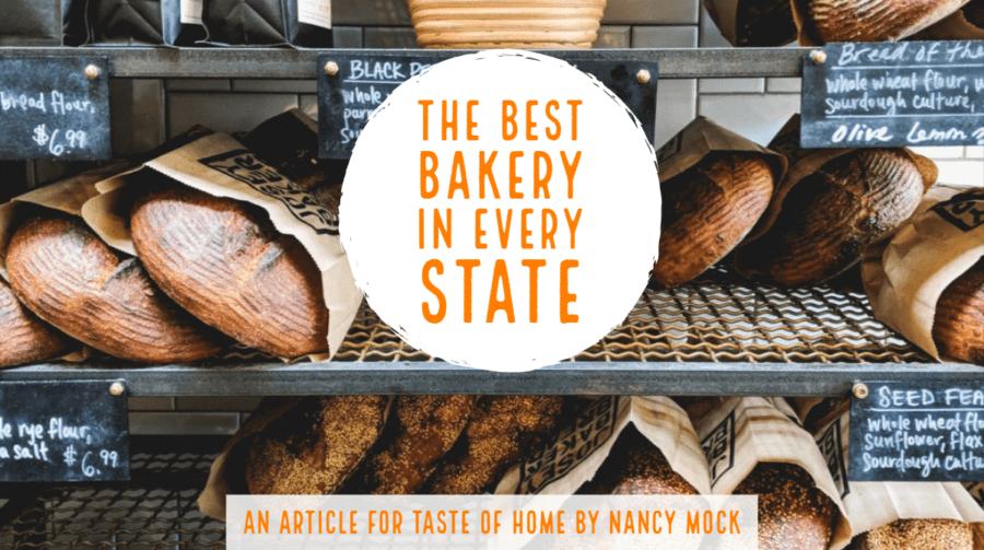 Bakery racks with fresh baked loaves, text overlay.