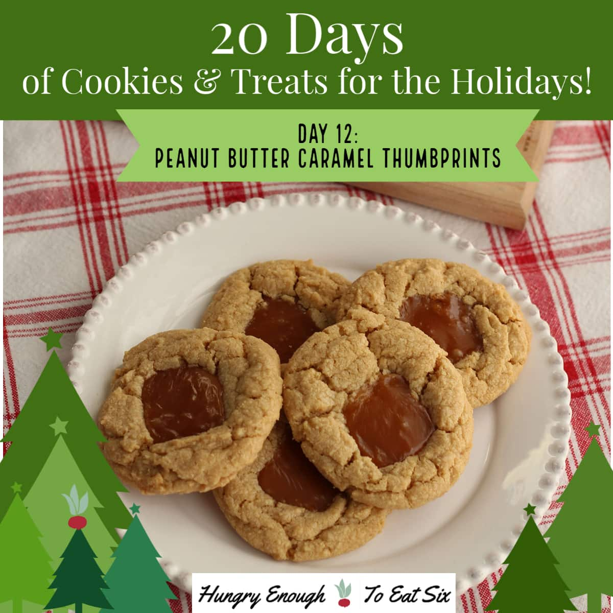 white plate holding peanut butter cookies