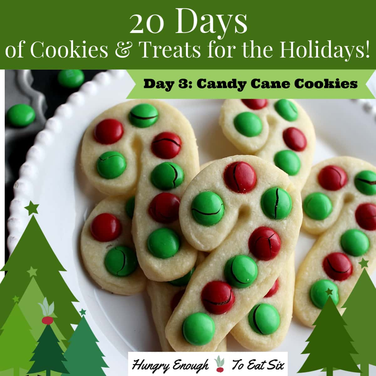 White plate with cookies decorated with red and green candies