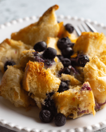 Serving of Maple blueberry French toast bake.