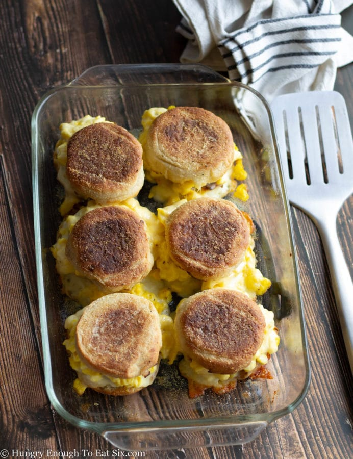 Baked breakfast sandwiches on English muffins.