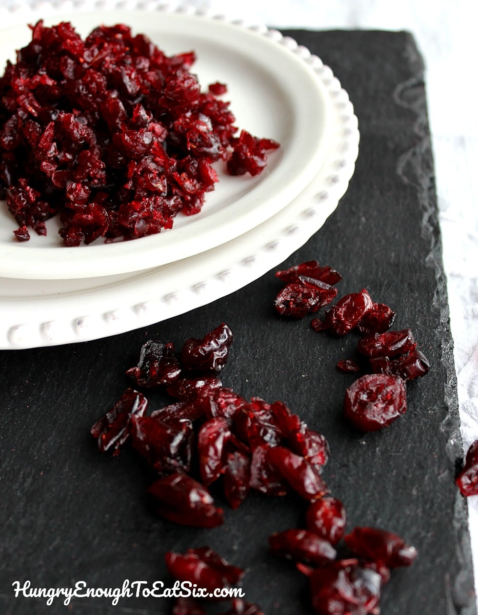 Dried cranberries in a white dish