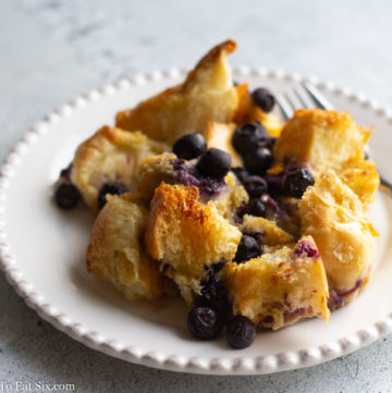 French toast bake with blueberries and orange zest.