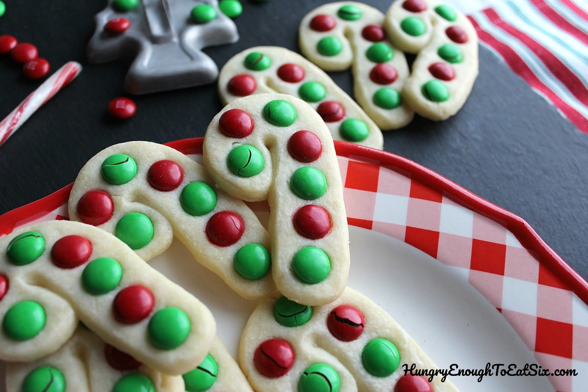 Candy cane cookies with red and green candies