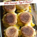 Baked breakfast sandwiches in a pan.