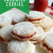 Pile of sandwich cookies dusted with sugar