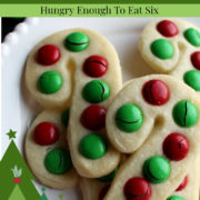 Cane shaped cookies with red and green candies