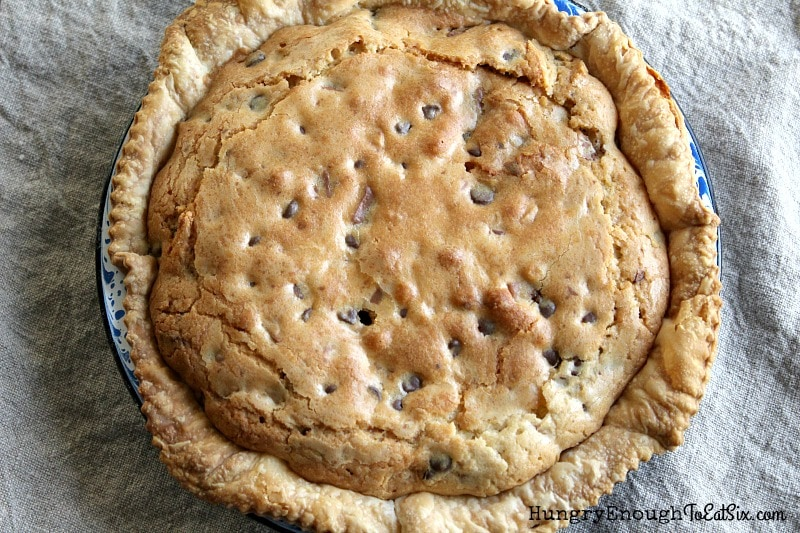 Whole pie with chocolate chip filling