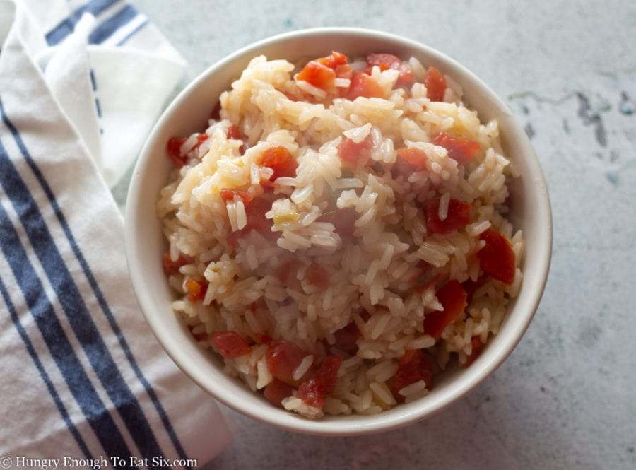 White rice cooked with diced tomatoes.