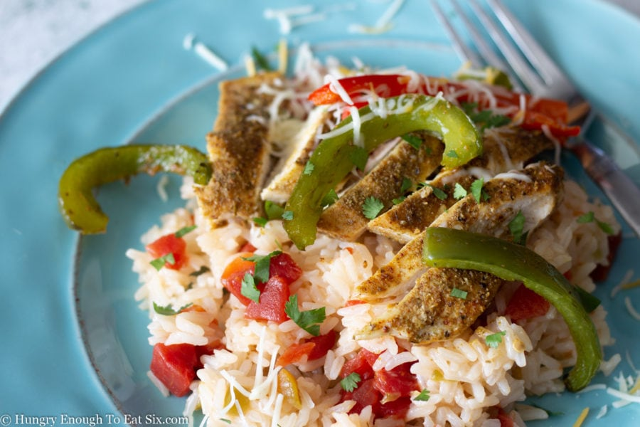 Jasmine rice cooked with diced tomatoes, bell pepper strips and chicken breast.
