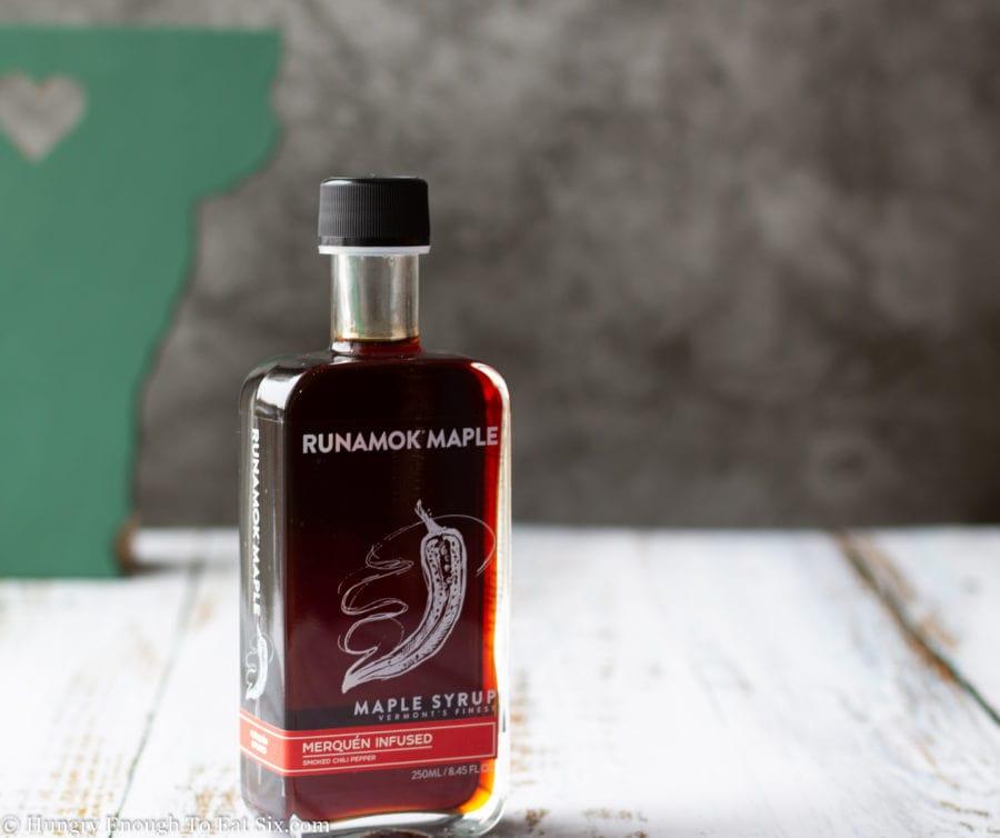 Maple syrup bottle, Runamok brand.