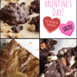 collage of chocolate brownie, chocolate bark and chocolate bites