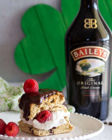 Baileys Irish Cream with a chocolate chip scone and whipped cream.