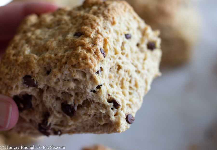 Baked scone in a hand.