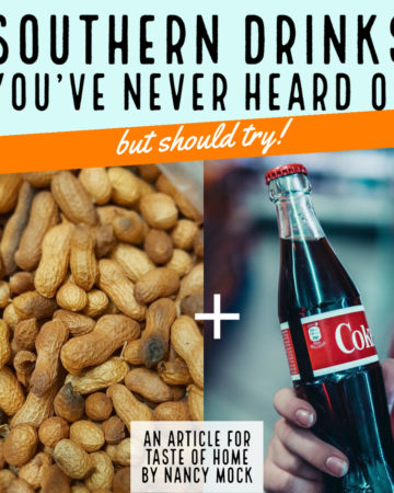 Image of peanuts next to a bottle of Coca-cola.