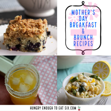 Collage of mother's day recipe ideas like a margarita and coffee cake.