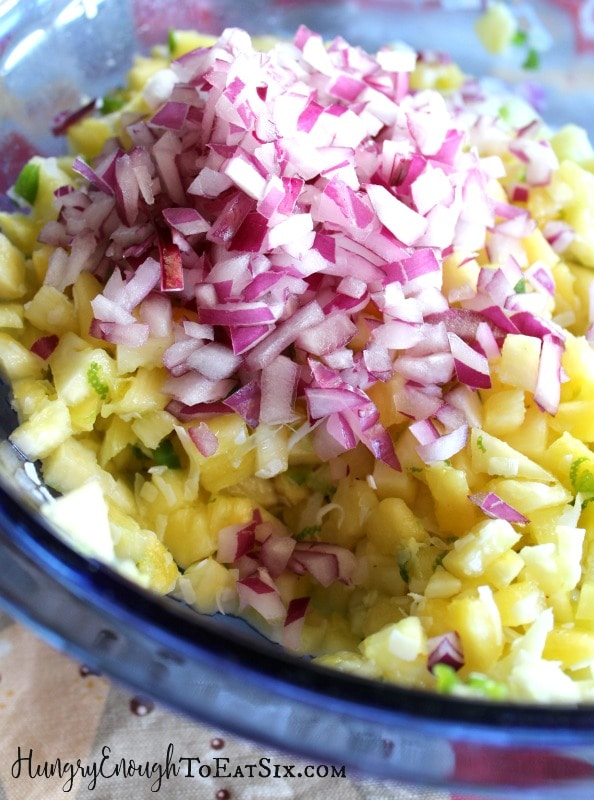 Pineapple and onion in a bowl