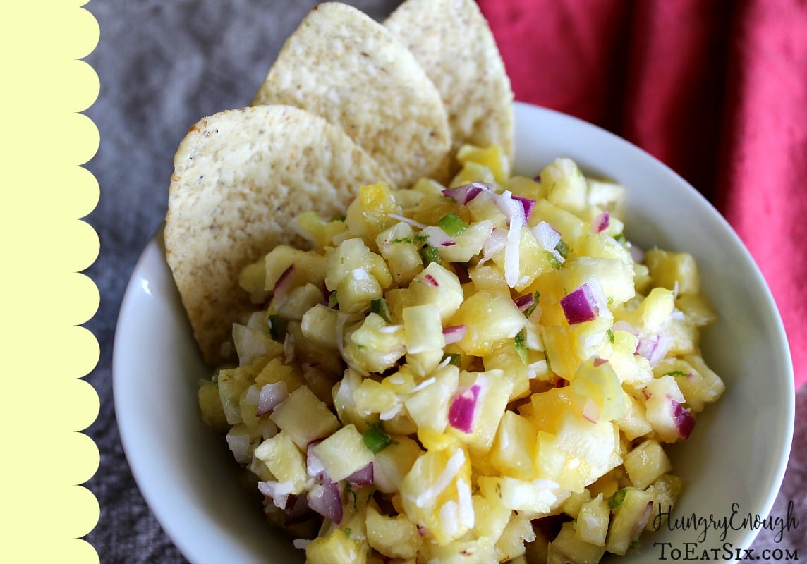 White bowl with pineapple salsa