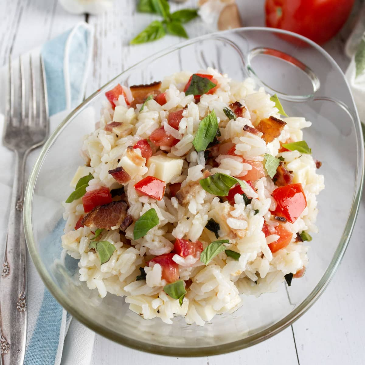 Salad of rice and vegetables in a bowl