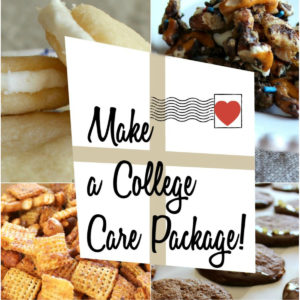 Collage of snack foods for a college care package.