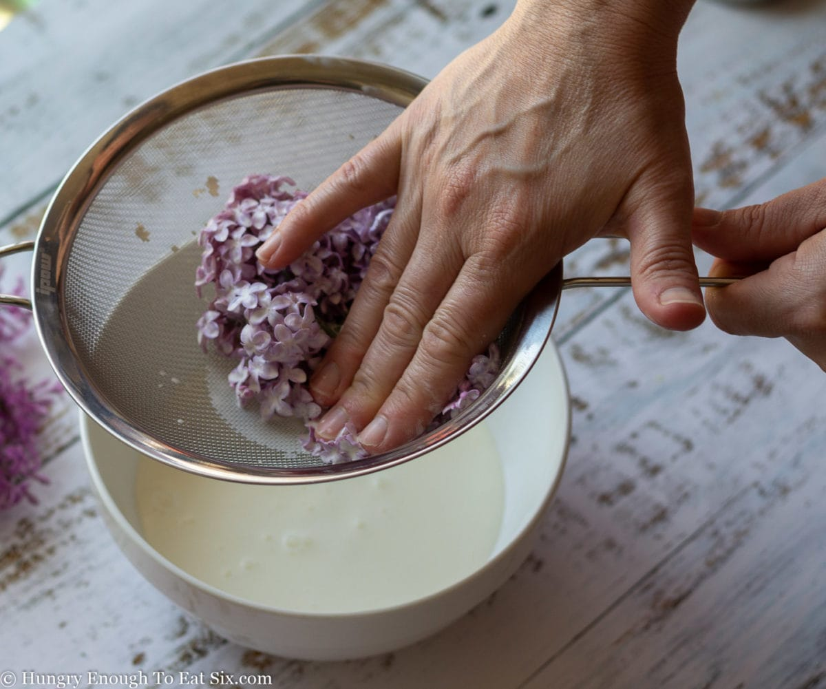 Hand pressing excess cream our of lilac sprigs in a strainer set over a bowl of cream.
