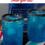 Two mason jars with blue margaritas.