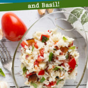 Rice salad with tomato and basil bits