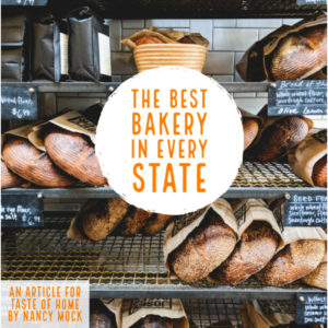 Loaves of artisan bread on bakery shelves with text overlay, The Best Bakery In Every State.