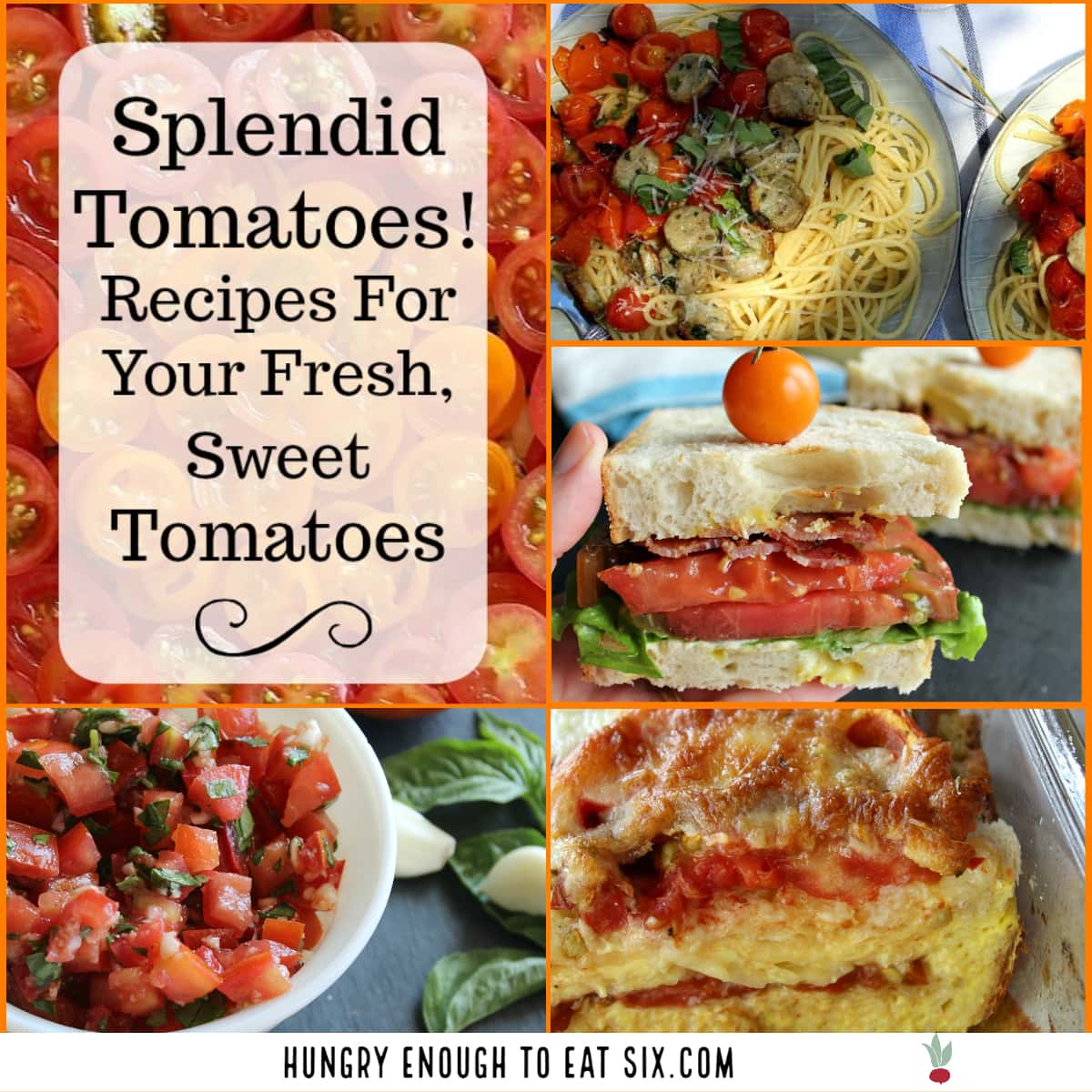 Collage of tomato recipes like a BLT, a tomato strata and tomatoes over pasta.