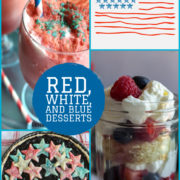 Collage of red ice cream sodas,berry and cream trifle and red and blue star topped tart.