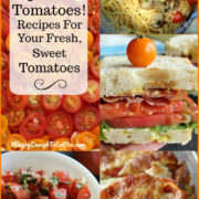 Collage of tomato dishes like a BLT, tomato salsa, and tomatoes over pasta